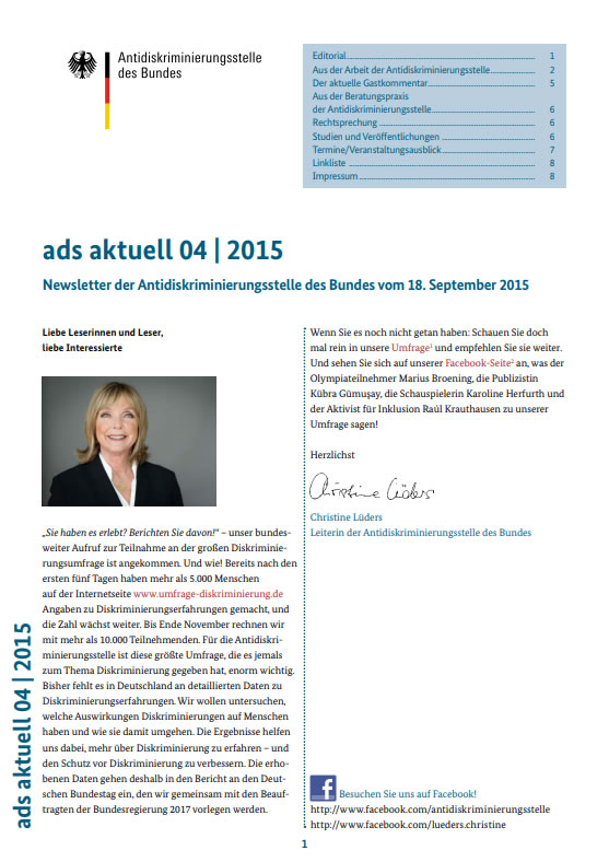 Newsletter der Antidiskriminierungsstelle des Bundes vom 18. September 2015